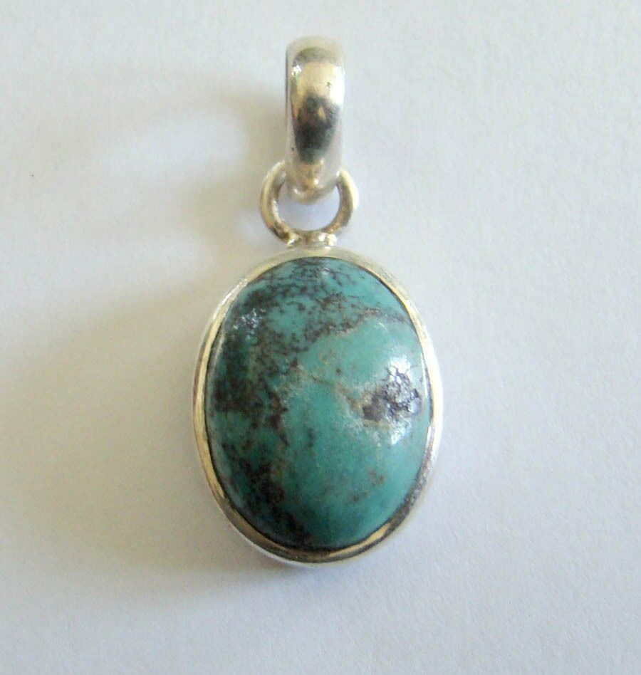 Sterling Silver Genuine Turquoise Stone Pendant 925 1