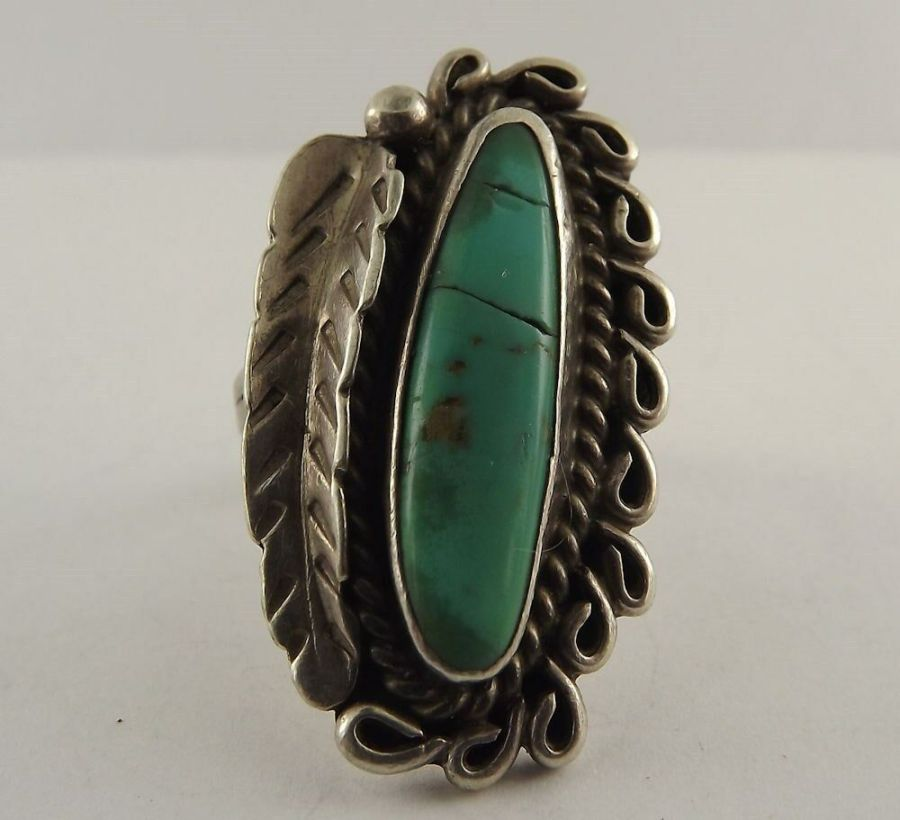 Sterling Silver Native Turquoise Feather Ring Tribal 1