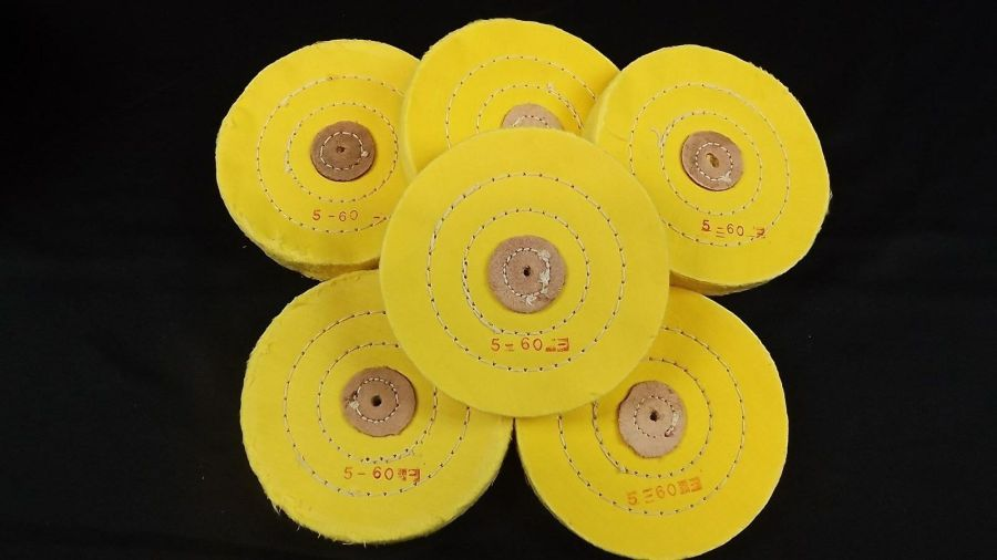 6-PIECE SET YELLOW BUFFING WHEEL 5'' PLY HARD CLOTH / LEATHER STITCHED JEWELERS 1