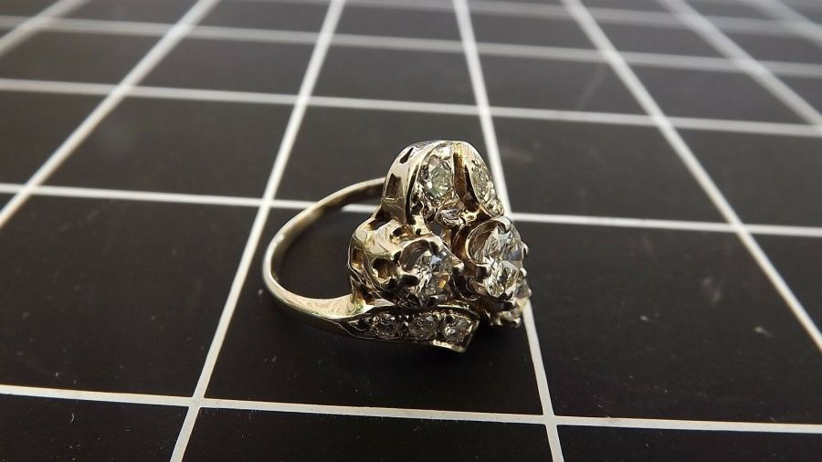 ANTIQUE 14KT W/G GENUINE Diamond CLUSTER Cocktail Ring 5.4 Grams Size 6 1/4 3