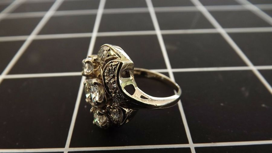 ANTIQUE 14KT W/G GENUINE Diamond CLUSTER Cocktail Ring 5.4 Grams Size 6 1/4 4