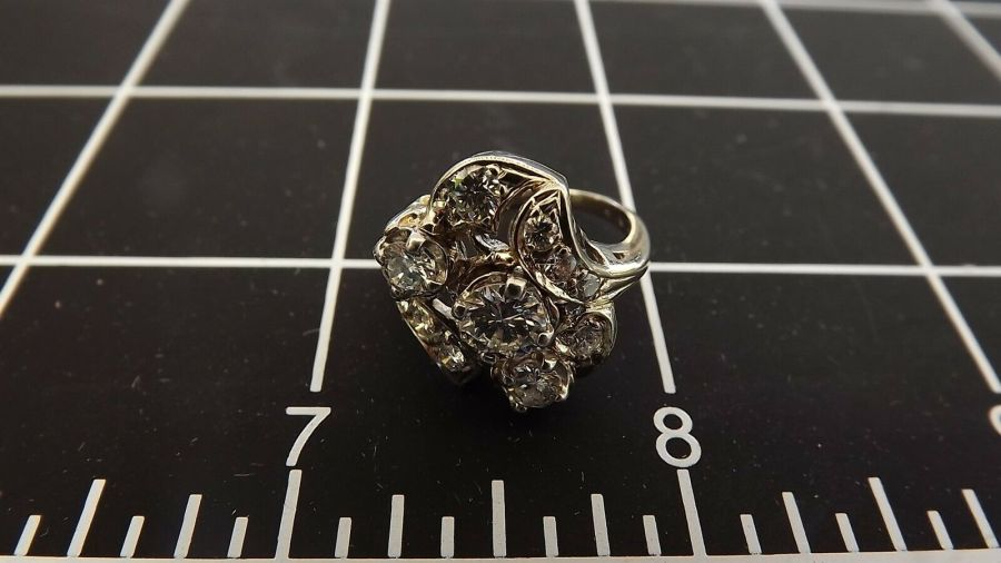 ANTIQUE 14KT W/G GENUINE Diamond CLUSTER Cocktail Ring 5.4 Grams Size 6 1/4 7