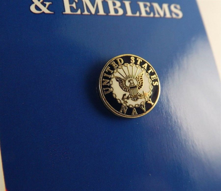 "BRAND NEW Lapel Pin United States Navy White & Blue Enamel 1/2"" 1"