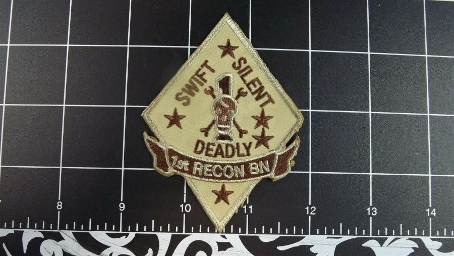 BRAND NEW PATCH USMC 001ST Recon Battalion Swift Silent Deadly Skull 1