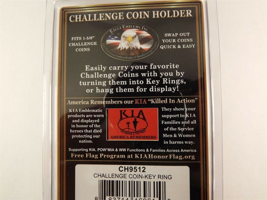 """GOLD PLATED KEY RING KEYCHAIN BRAND NEW 1-5/8"""" CHALLENGE COIN HOLDER 3"""