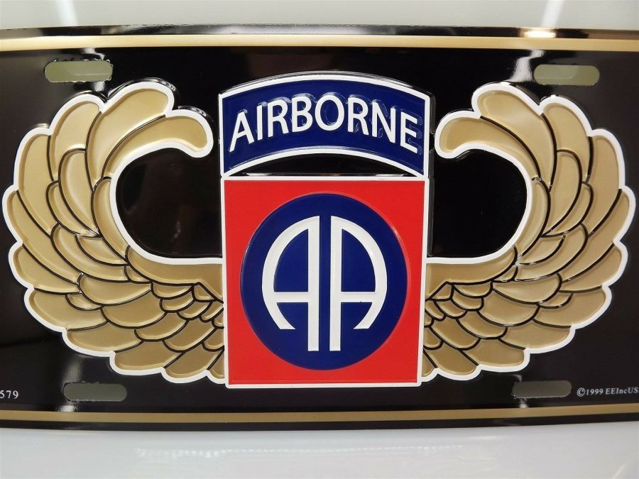 LICENSE PLATE U.S. ARMY 82ND AIRBORNE STANDARD SIZE MILITARY NEW LOGO EMBOSSED 3