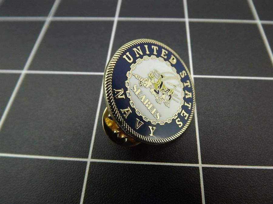 "NEW Lapel Pin UNITED STATES NAVY ""SEABEES"" 1"" ROUND 1"