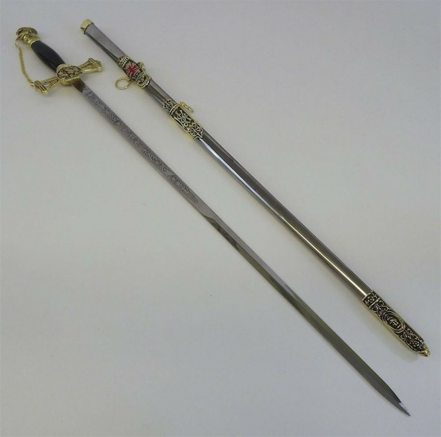 New Masonic Knights Templar Mason Sword & Sheath Rose Croix Scottish Rite 1