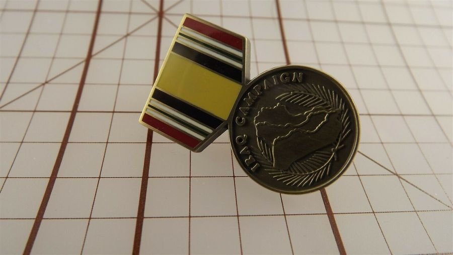 "BRAND NEW Lapel Pin IRAQ CAMPAIGN Medal Red Blue Yellow Enamel 1 3/16"" 3"