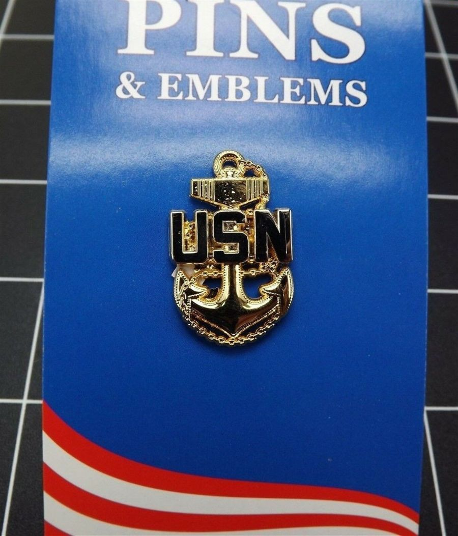 """BRAND NEW Military Lapel Pin United States Navy Chief Petty Officer USN 1-1/4"""" 1"""