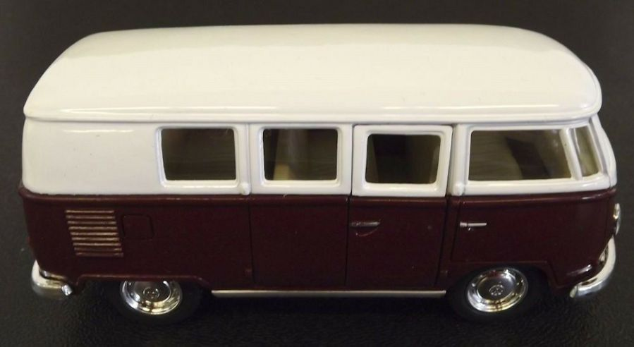 Collectible Die Cast MAROON 1962 Volkswagen Classic Bus VW 1:32 Scale Kinsmart 3