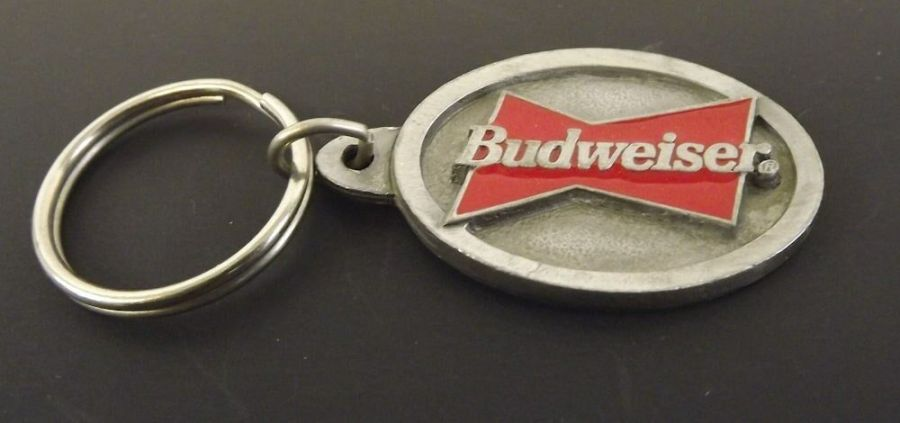 Collectible Solid Pewter Keychain Enameled Budweiser Anheuser Busch 1