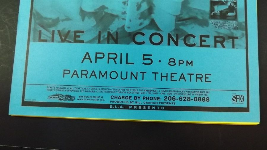 Genuine 1999 NATALIE MERCHANT Live In Concert Paramount Theatre Poster Flyer Ad 3