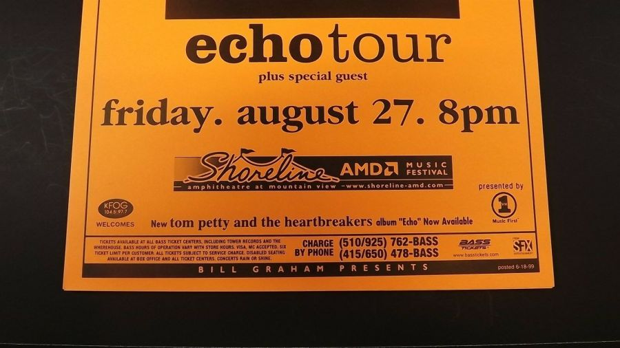 Genuine 1999 TOM PETTY & THE HEARTBREAKERS Echo Tour Concert Poster Flyer Ad 4