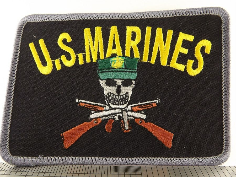 USMC United States Marines Iron on Patch Brand New Skull Rifle BLACK 1