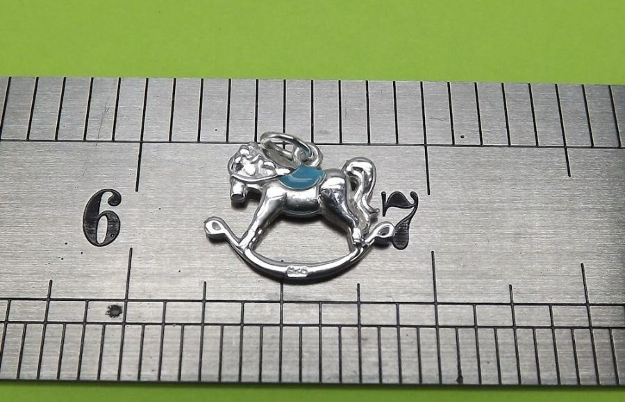 Unique Sterling Silver 925 Bracelet Necklace Charm Rocking Horse Charm BOY 4