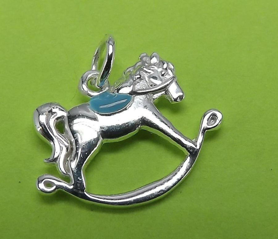 Unique Sterling Silver 925 Bracelet Necklace Charm Rocking Horse Charm BOY 5