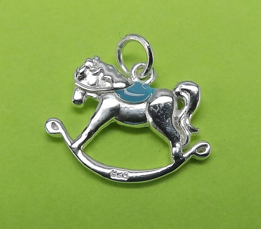 Unique Sterling Silver 925 Bracelet Necklace Charm Rocking Horse Charm BOY 1