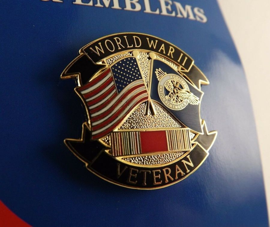 """BRAND NEW Lapel Pin WWII VETERAN A Grateful Nation Remembers Duck Flag 1 1/8"""" 1"""