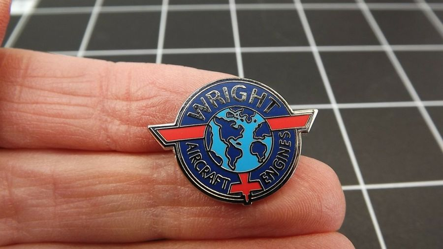 """BRAND NEW Lapel Pin """"Wright Aircraft Engines"""" ENAMELED LIFETIME GUARANTEE 1"""