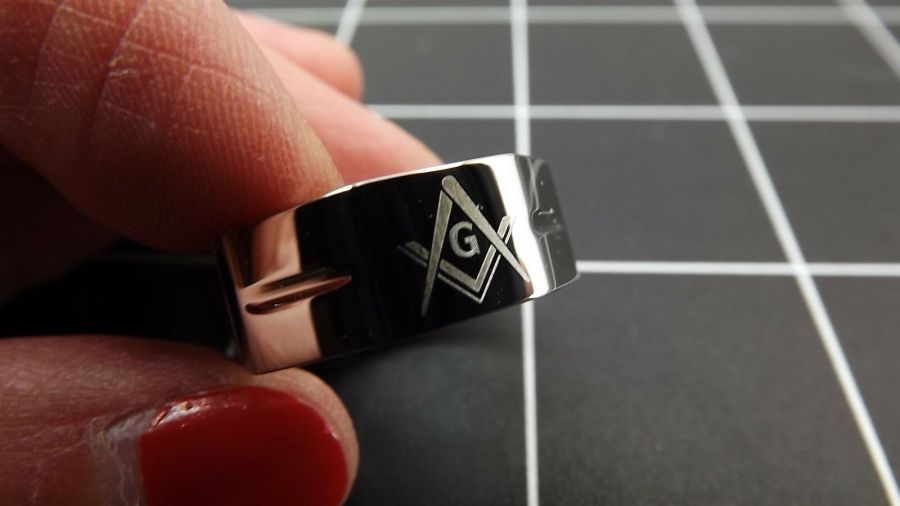 New Stainless Steel Masonic Freemason Square & Compass Blue Lodge Band Ring 3