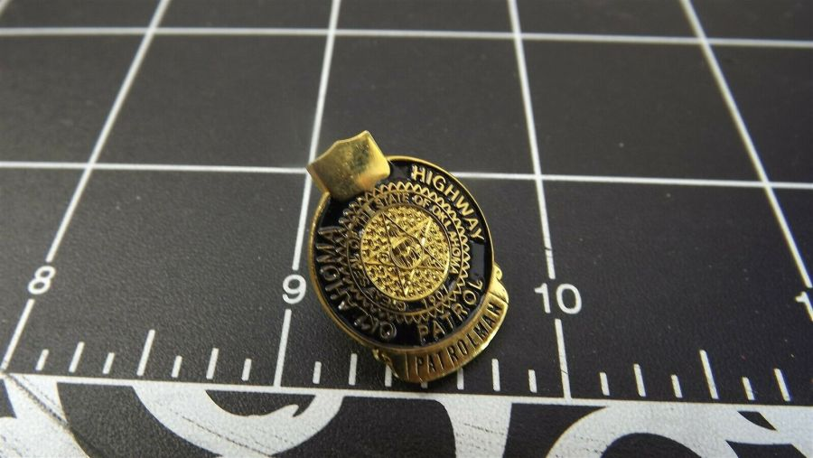 """OKLAHOMA HIGHWAY PATROL"" MINI-BADGE Enamel Lapel Pin BRAND NEW 3"