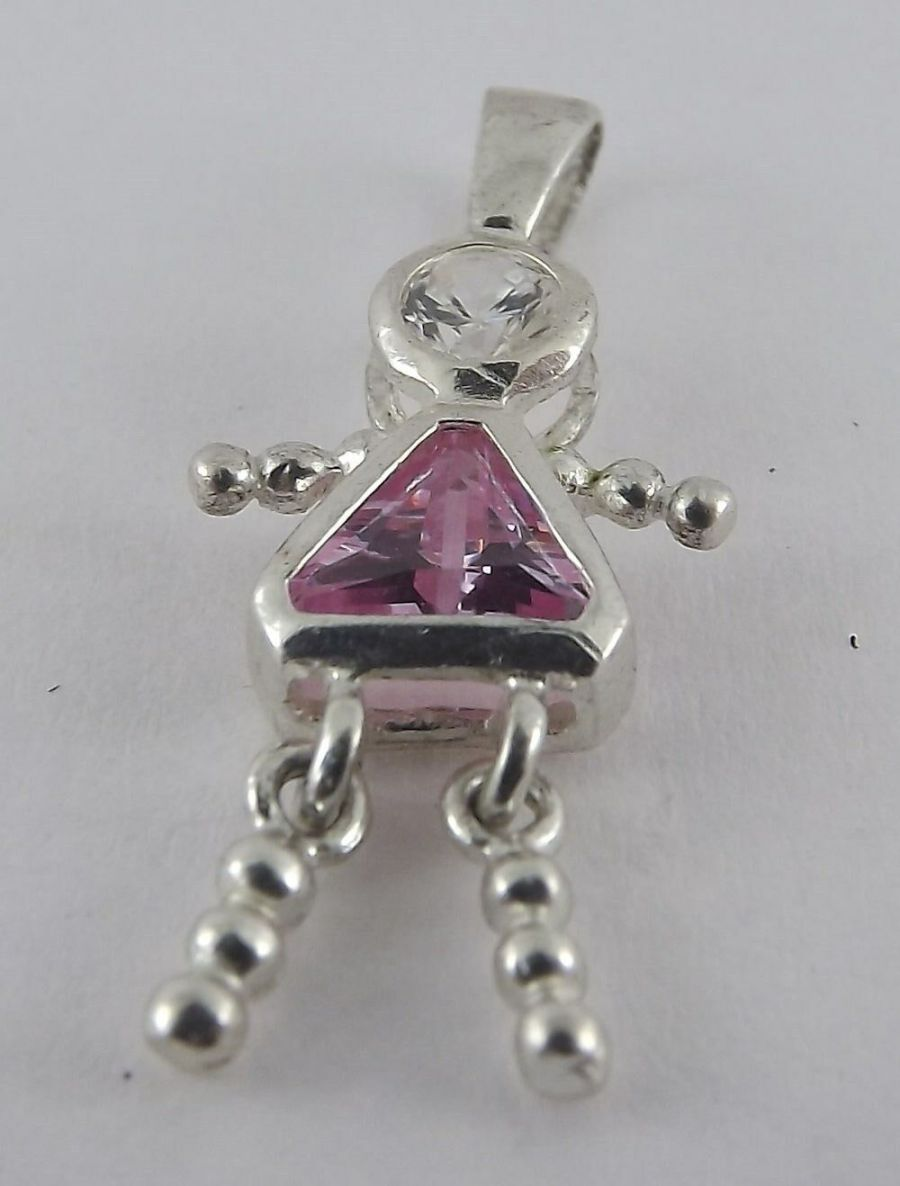 Vintage Sterling Silver Bracelet Charm Pendant Child Movable Birthstone 1