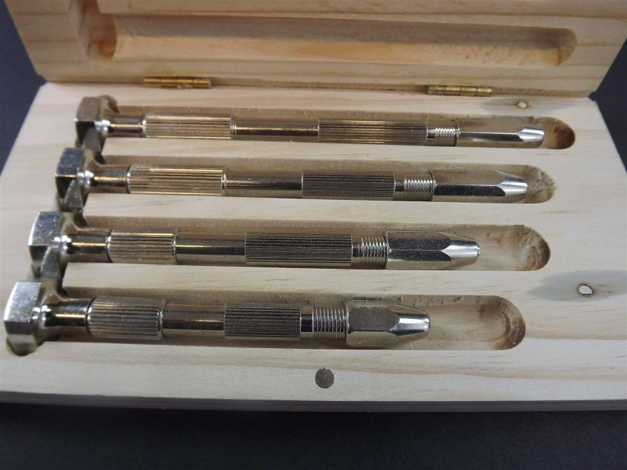 4 Piece SWIVEL Pin Vise Set in Wood box ,Chrome Plated JEWELERS VICE 3