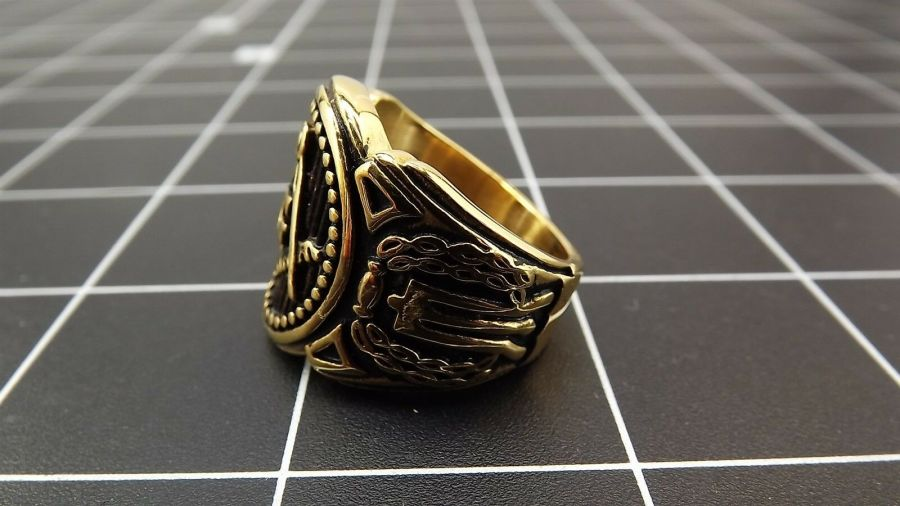 Anodized Gold Plated Stainless Steel Enamel Free Mason Masonic Ring 4
