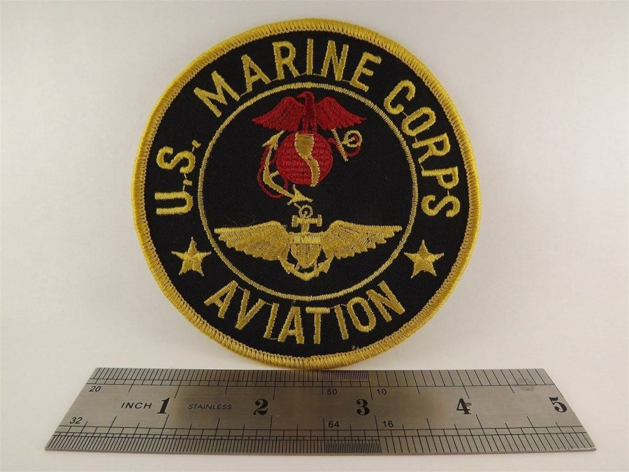 "MARINE CORPS USMC AVIATION PATCH LOGO GOLD BLACK BRAND NEW 4"" 3"