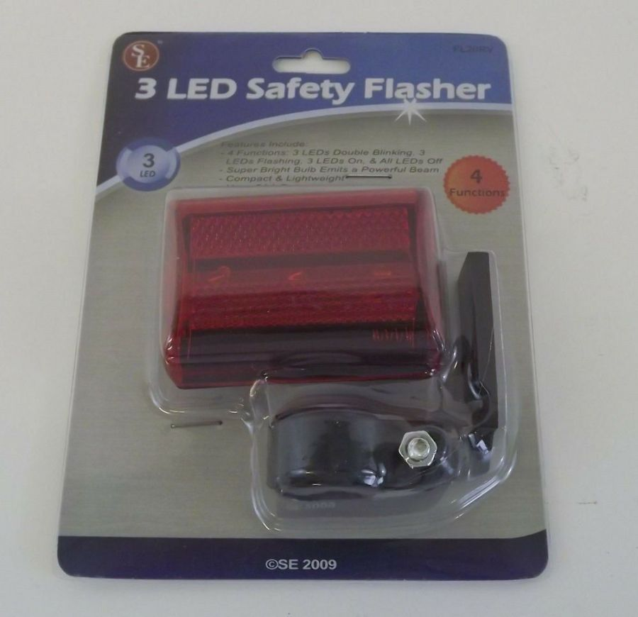New 3 LED Red Safety Flasher with 2-Functions Bicycle Light 1
