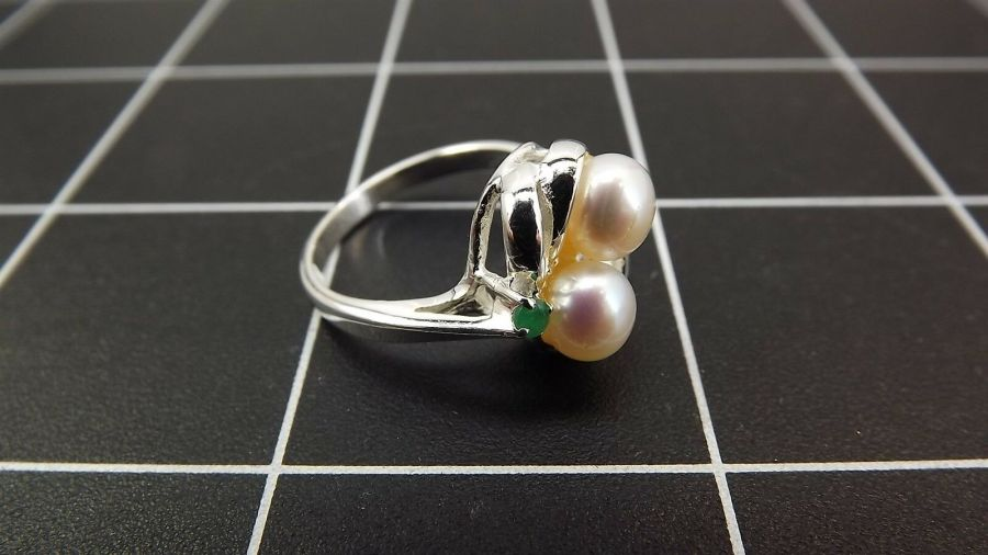 Sterling Silver 925 Pearl & Emerald Swirl Cocktail Ring 4.3 Grams Size 7 3