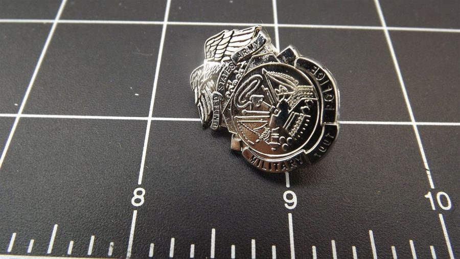 BRAND NEW Lapel Pin U.S. ARMY SECURITY MILITARY POLICE, BRIGHT STEEL 3