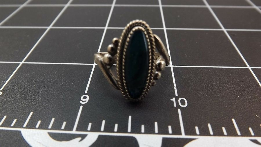 DEAD PAWN Vintage DYED BLUE MOTHER-OF-PEARL Ring 3.4 Grams Size 7-1/2 6