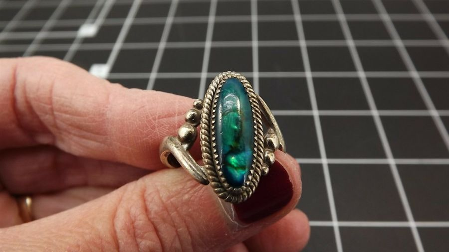 DEAD PAWN Vintage DYED BLUE MOTHER-OF-PEARL Ring 3.4 Grams Size 7-1/2 1