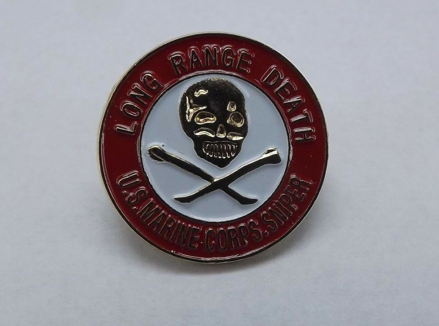 Lapel pin NEW USMC Marines Logo Enameled Brass LONG RANGE DEATH SNIPER 1