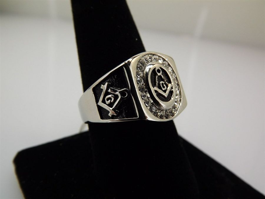Stainless Steel & Enamel With Clear Stones MASONIC FREEMASON Ring Size 9 3