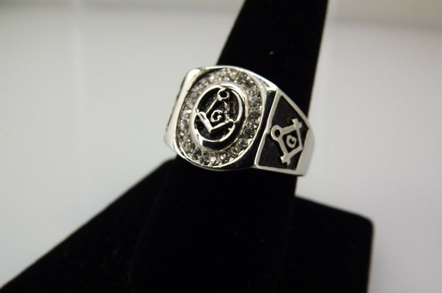 Stainless Steel & Enamel With Clear Stones MASONIC FREEMASON Ring Size 9 1