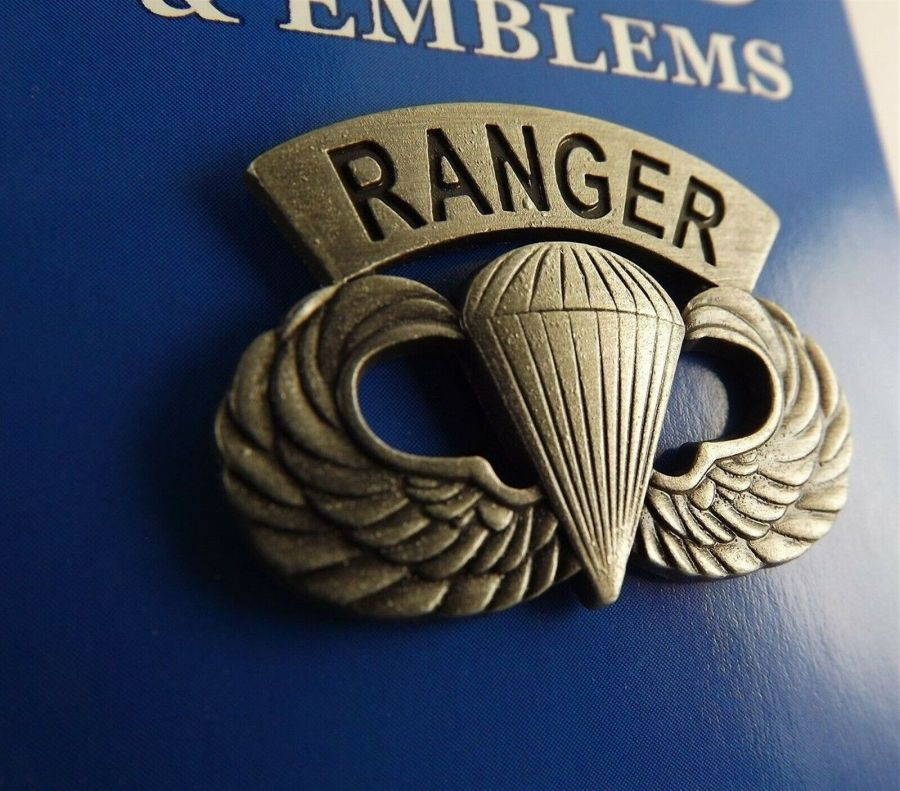 """BRAND NEW Lapel Pin US Army RANGER Paratrooper Wings PEWTER 1 1/4"""" 1"""