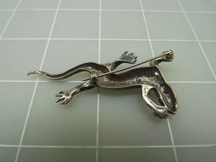 DEAD PAWN Vintage Sterling Silver Native American LIZARD Reptile Brooch Pin 4