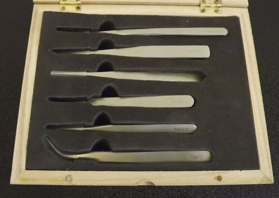 New 6-PIECE SET Mat Finish Non Magnetic Tweezer Set in a Wooden Box Jeweler Tool 3