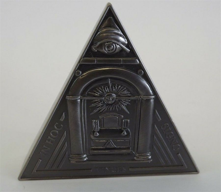 New Masonic Mason Triangle Table Clock Office Desk Clock Paperweight FREEMASON 4