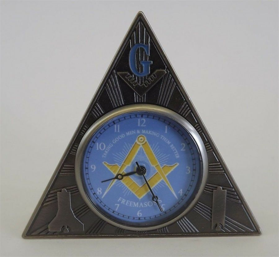 New Masonic Mason Triangle Table Clock Office Desk Clock Paperweight FREEMASON 1