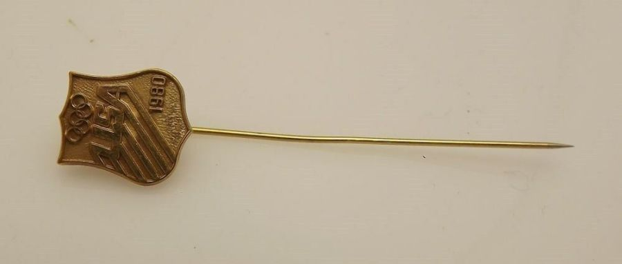 Vintage 1980 Olympics Olympic stick Pin Gold Tone 1