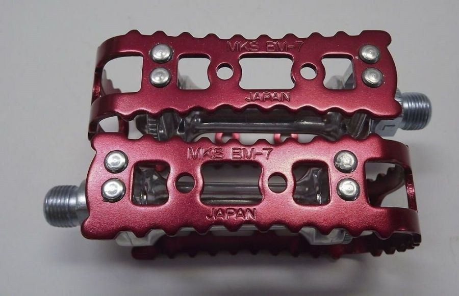 New MKS BM-7 BMX 9/16 Pedals Old School Bmx Red Anodized 5
