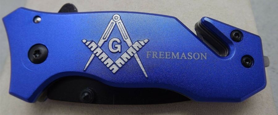 New Tactical Masonic Mason Folding Pocket Knife FREE MASON Square & Compass 1