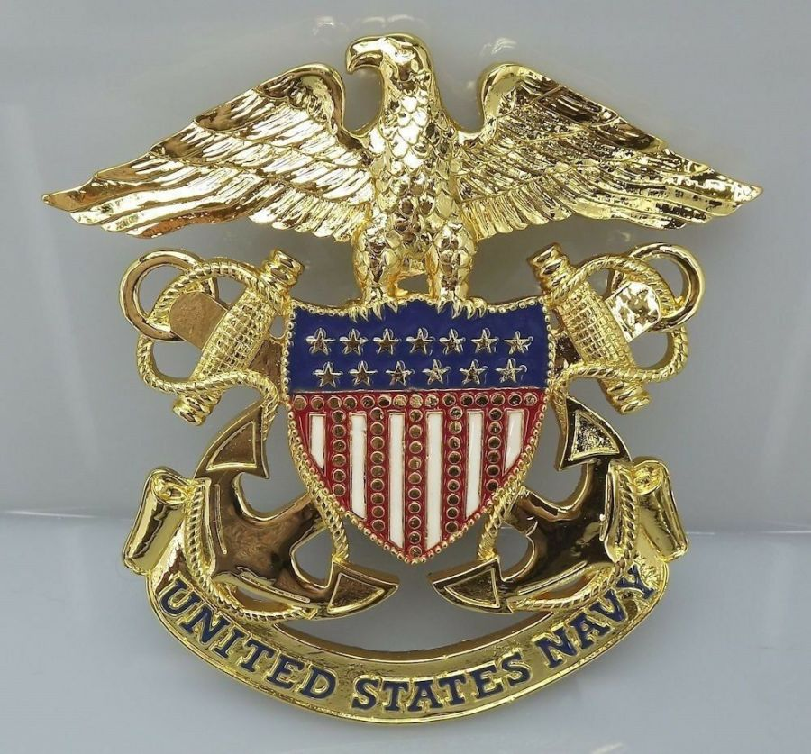 "USN UNITED STATES NAVY GRILL BADGE CAR TRUCK NEW 6-1/4"" BRASS 5"
