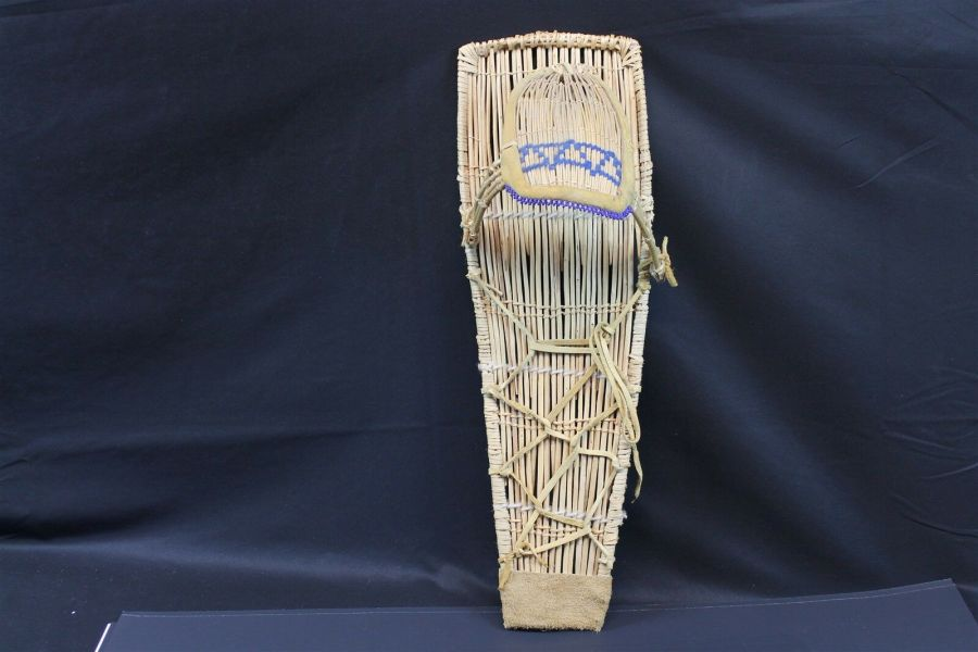 Vintage Native American Paiute Cradleboard W/Blue Beads Made In Yosemite Valley 6