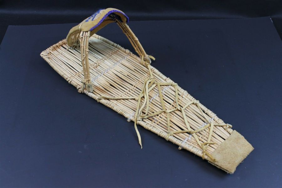 Vintage Native American Paiute Cradleboard W/Blue Beads Made In Yosemite Valley 7