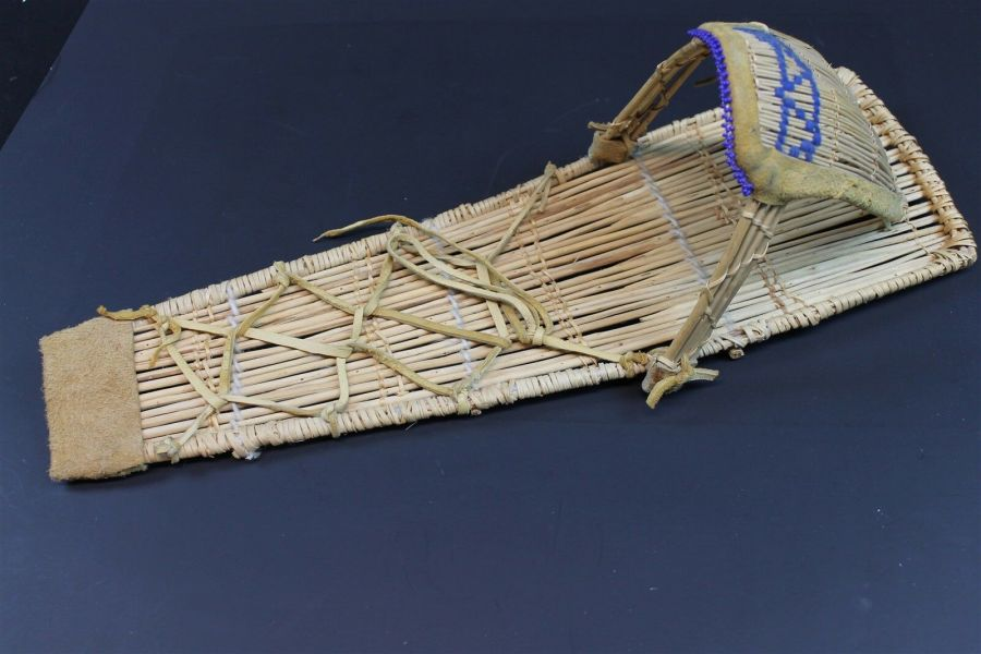 Vintage Native American Paiute Cradleboard W/Blue Beads Made In Yosemite Valley 1